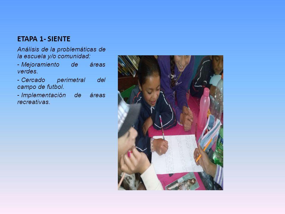 ETAPA 1- SIENTE Análisis de la problemáticas de la escuela y/o comunidad: - Mejoramiento de áreas verdes. - Cercado perimetral del campo de futbol. -