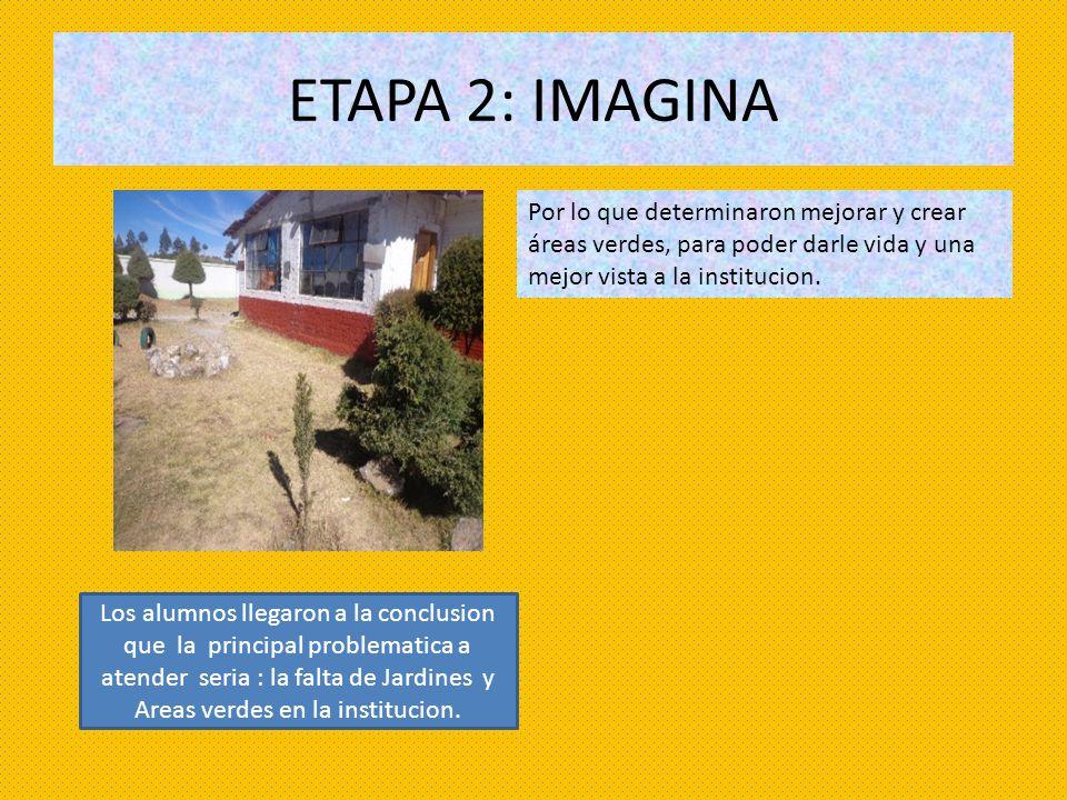 ETAPA 2: IMAGINA Por lo que determinaron mejorar y crear áreas verdes, para poder darle vida y una mejor vista a la institucion. Los alumnos llegaron