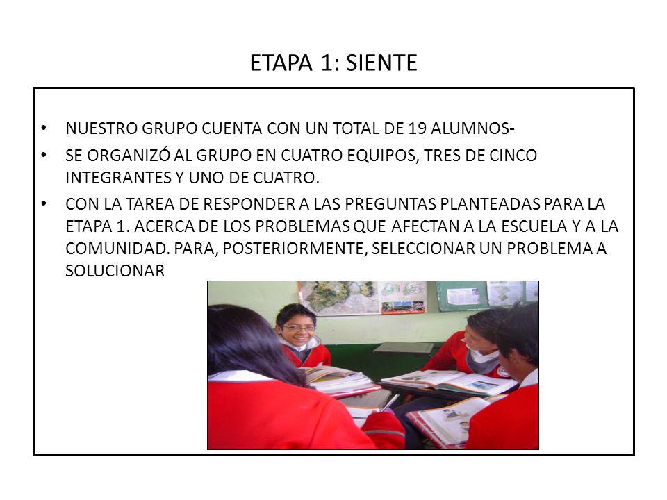 ETAPA 1: SIENTE NUESTRO GRUPO CUENTA CON UN TOTAL DE 19 ALUMNOS- SE ORGANIZÓ AL GRUPO EN CUATRO EQUIPOS, TRES DE CINCO INTEGRANTES Y UNO DE CUATRO. CO