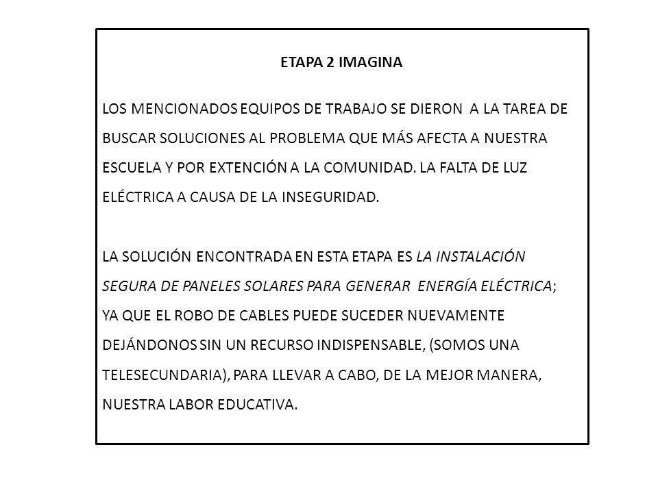 ETAPA 2 IMAGINA LOS MENCIONADOS EQUIPOS DE TRABAJO SE DIERON A LA TAREA DE BUSCAR SOLUCIONES AL PROBLEMA QUE MÁS AFECTA A NUESTRA ESCUELA Y POR EXTENC