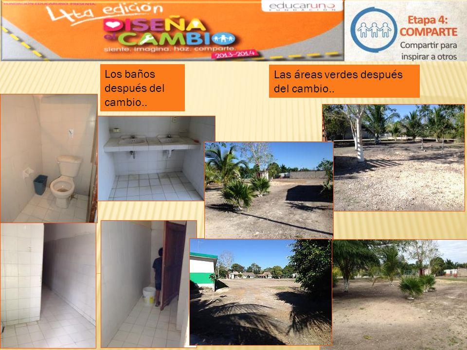 Los baños después del cambio.. Las áreas verdes después del cambio..