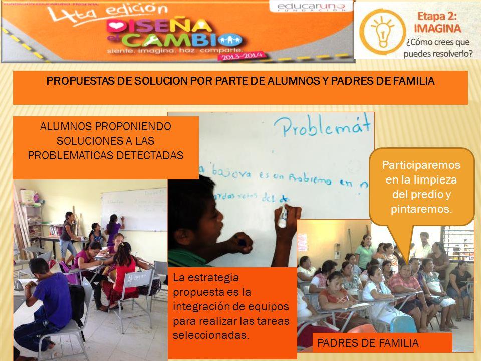 PROPUESTAS DE SOLUCION POR PARTE DE ALUMNOS Y PADRES DE FAMILIA PADRES DE FAMILIA ALUMNOS PROPONIENDO SOLUCIONES A LAS PROBLEMATICAS DETECTADAS Partic