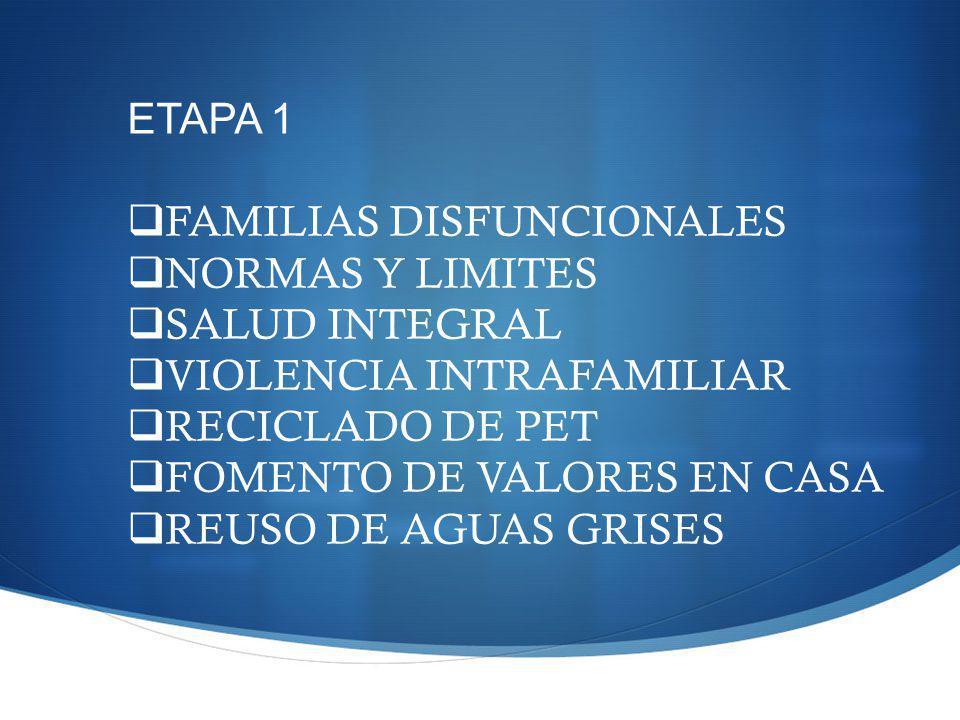 ETAPA 1 FAMILIAS DISFUNCIONALES NORMAS Y LIMITES SALUD INTEGRAL VIOLENCIA INTRAFAMILIAR RECICLADO DE PET FOMENTO DE VALORES EN CASA REUSO DE AGUAS GRISES