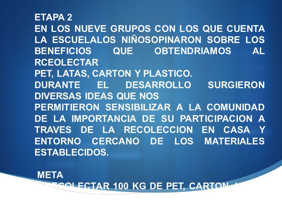 ETAPA 2 EN LOS NUEVE GRUPOS CON LOS QUE CUENTA LA ESCUELALOS NIÑOSOPINARON SOBRE LOS BENEFICIOS QUE OBTENDRIAMOS AL RCEOLECTAR PET, LATAS, CARTON Y PLASTICO.