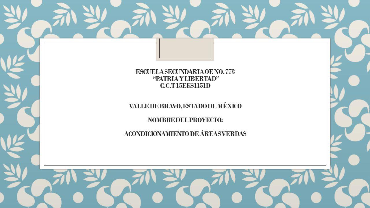 ESCUELA SECUNDARIA OF. NO. 773 PATRIA Y LIBERTAD C.C.T 15EES1151D VALLE DE BRAVO, ESTADO DE MÉXICO NOMBRE DEL PROYECTO: ACONDICIONAMIENTO DE ÁREAS VER