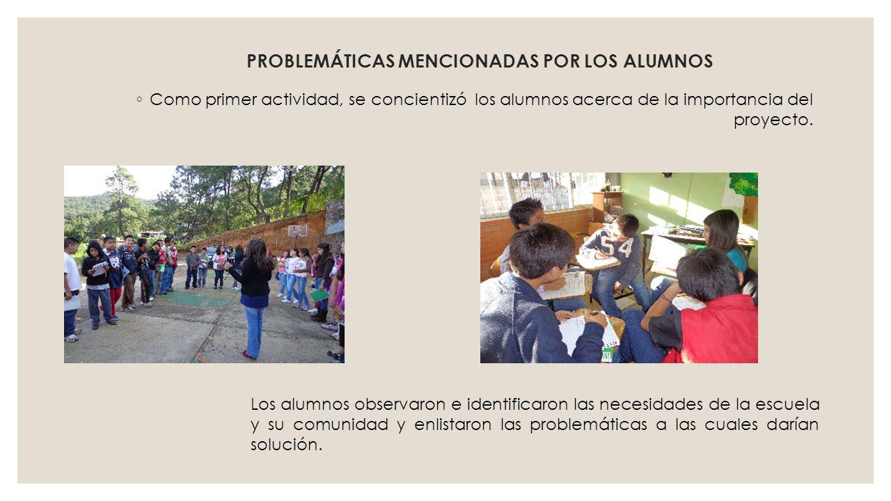 PROBLEMÁTICAS MENCIONADAS POR LOS ALUMNOS Como primer actividad, se concientizó los alumnos acerca de la importancia del proyecto. Los alumnos observa