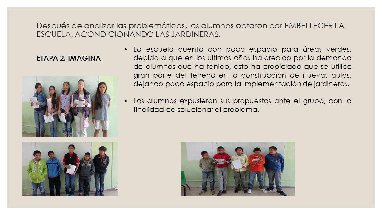 Después de analizar las problemáticas, los alumnos optaron por EMBELLECER LA ESCUELA, ACONDICIONANDO LAS JARDINERAS. La escuela cuenta con poco espaci