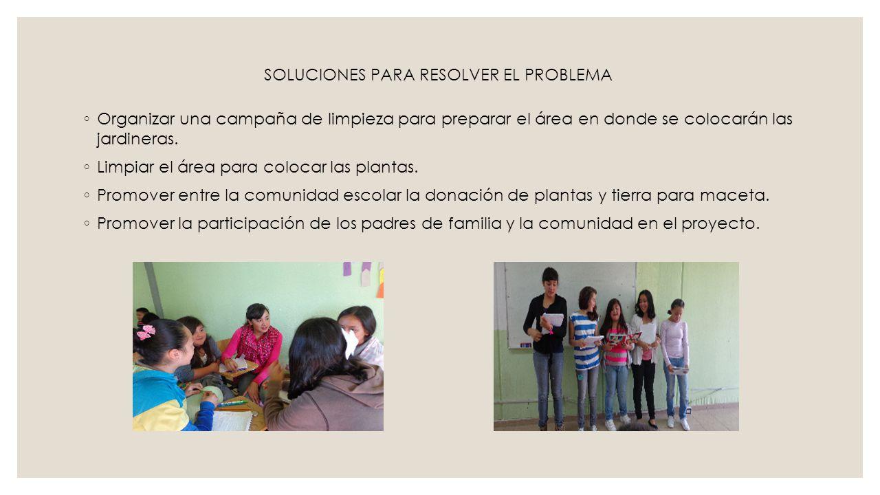 ETAPA 3: HAZ FECHAACTIVIDADRESPONSABLERECURSOS 8/nov./ 2013Campaña de limpieza de las áreas.Alumnos de 1° BEscobas, cestos de basura, recogedor 15/nov./2013Invitación de los alumnos hacia la comunidad para la donación de plantas y material para el arreglo de jardineras.