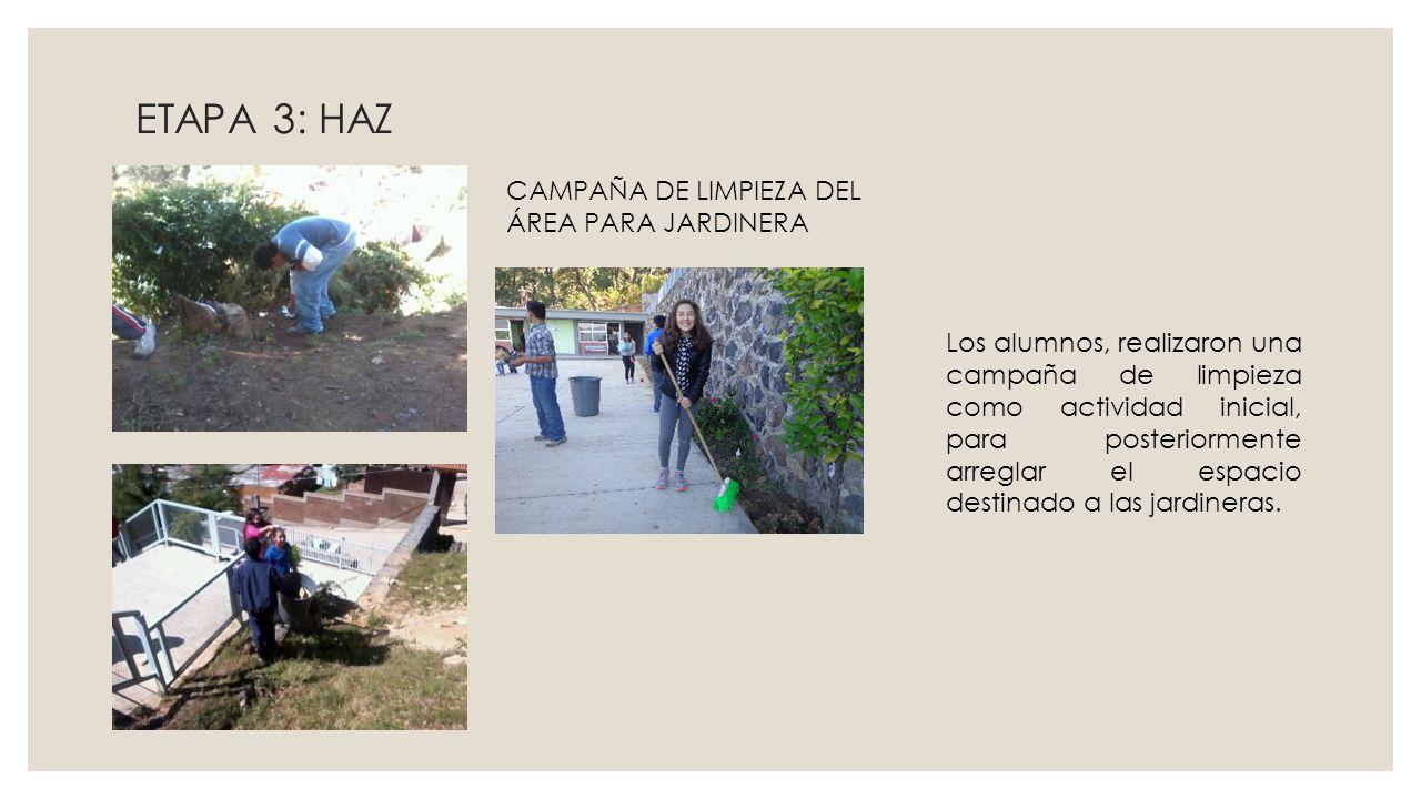 ETAPA 3: HAZ CAMPAÑA DE LIMPIEZA DEL ÁREA PARA JARDINERA Los alumnos, realizaron una campaña de limpieza como actividad inicial, para posteriormente a