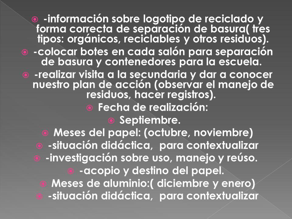 -información sobre logotipo de reciclado y forma correcta de separación de basura( tres tipos: orgánicos, reciclables y otros residuos).