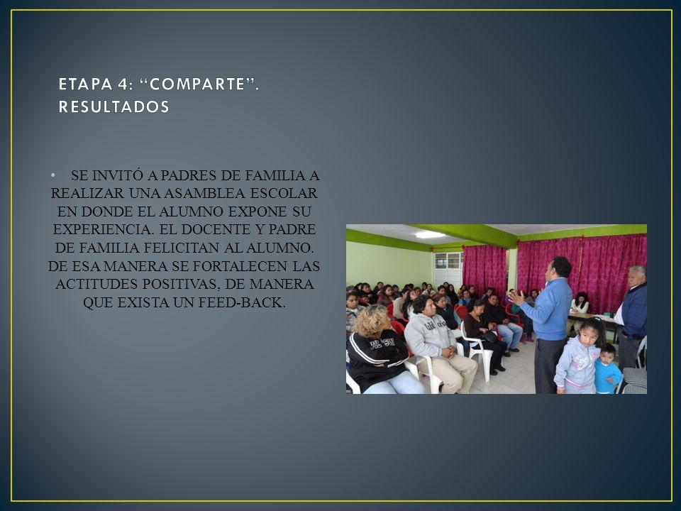 SE INVITÓ A PADRES DE FAMILIA A REALIZAR UNA ASAMBLEA ESCOLAR EN DONDE EL ALUMNO EXPONE SU EXPERIENCIA. EL DOCENTE Y PADRE DE FAMILIA FELICITAN AL ALU