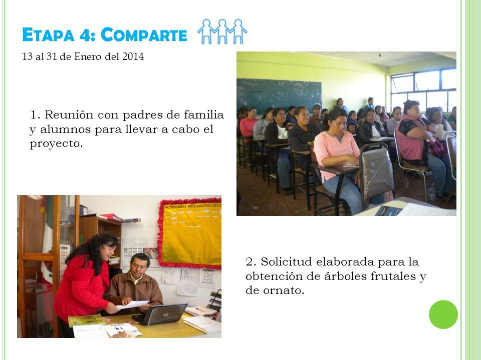 E TAPA 4: C OMPARTE 1.Reunión con padres de familia y alumnos para llevar a cabo el proyecto.