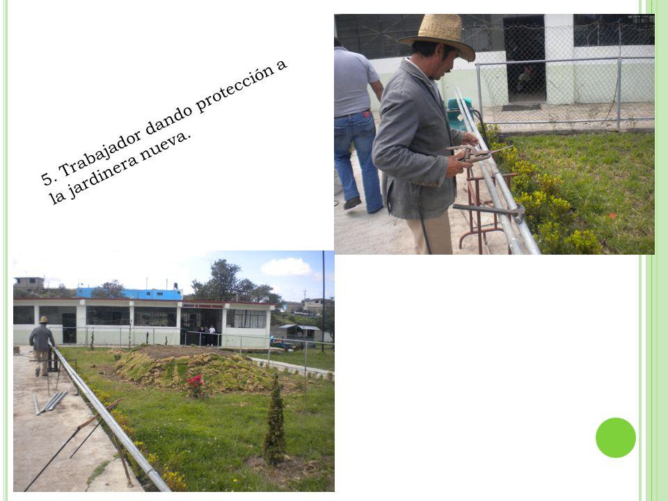 5. Trabajador dando protección a la jardinera nueva.
