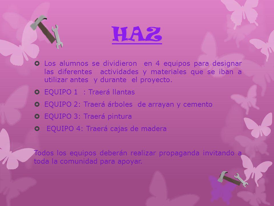 HAZ Los alumnos se dividieron en 4 equipos para designar las diferentes actividades y materiales que se iban a utilizar antes y durante el proyecto.