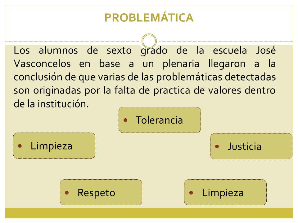 Los alumnos de sexto grado de la escuela José Vasconcelos en base a un plenaria llegaron a la conclusión de que varias de las problemáticas detectadas son originadas por la falta de practica de valores dentro de la institución.