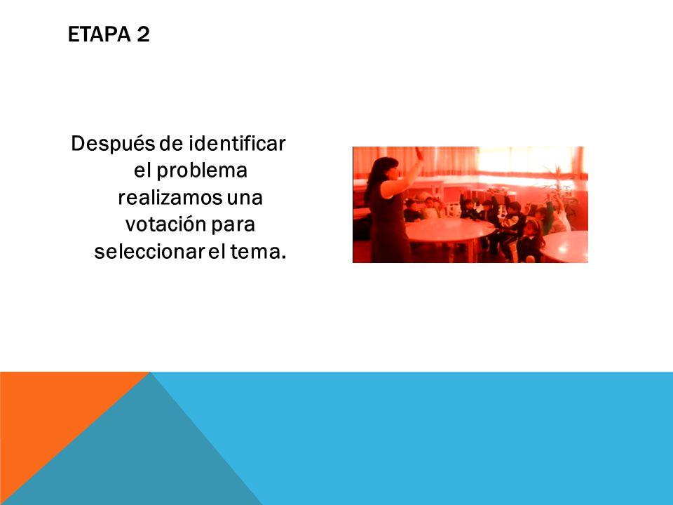 ETAPA 2 Después de identificar el problema realizamos una votación para seleccionar el tema.