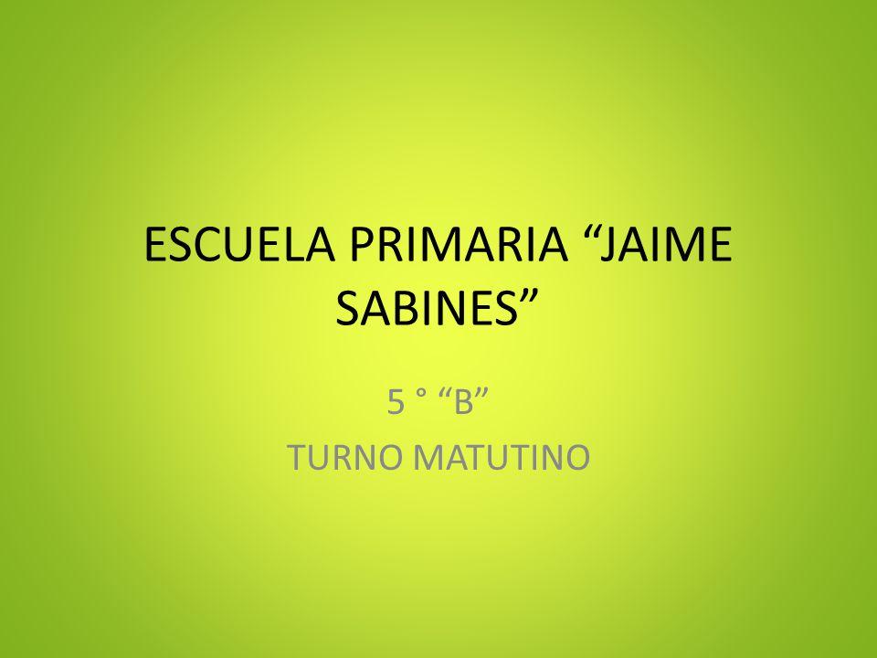 ESCUELA PRIMARIA JAIME SABINES 5 ° B TURNO MATUTINO