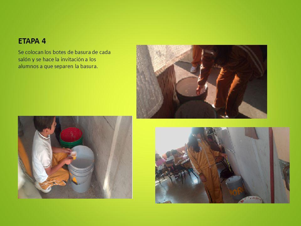 ETAPA 4 Se colocan los botes de basura de cada salón y se hace la invitación a los alumnos a que separen la basura.