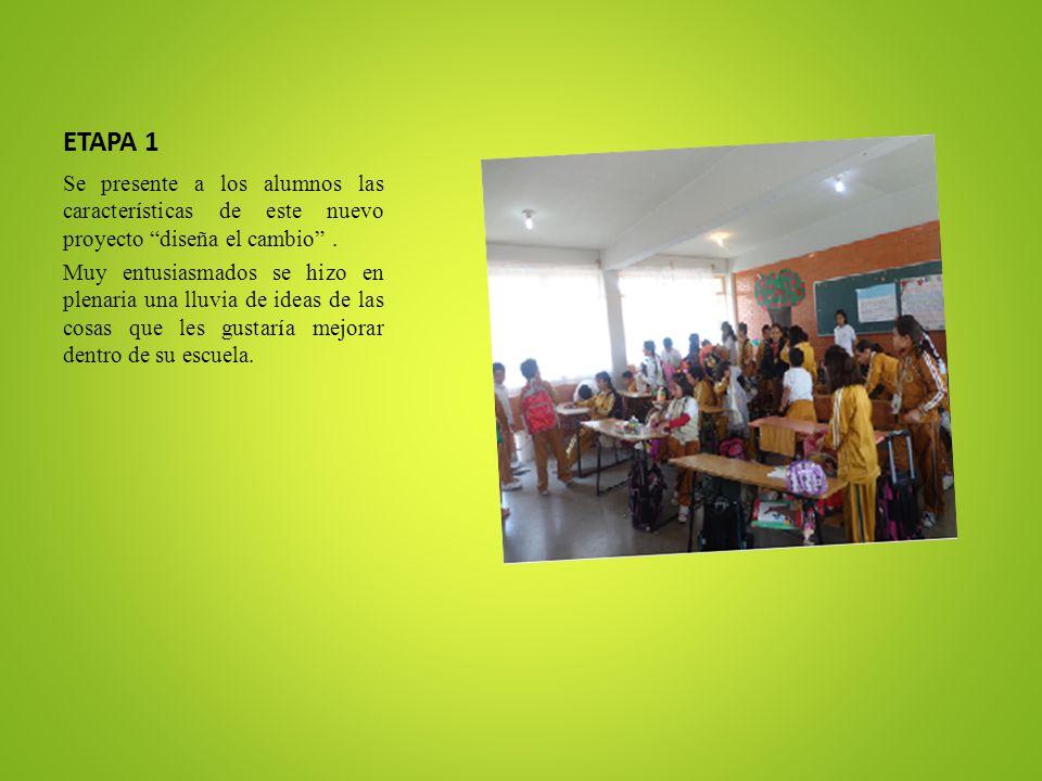 ETAPA 1 Se presente a los alumnos las características de este nuevo proyecto diseña el cambio. Muy entusiasmados se hizo en plenaria una lluvia de ide