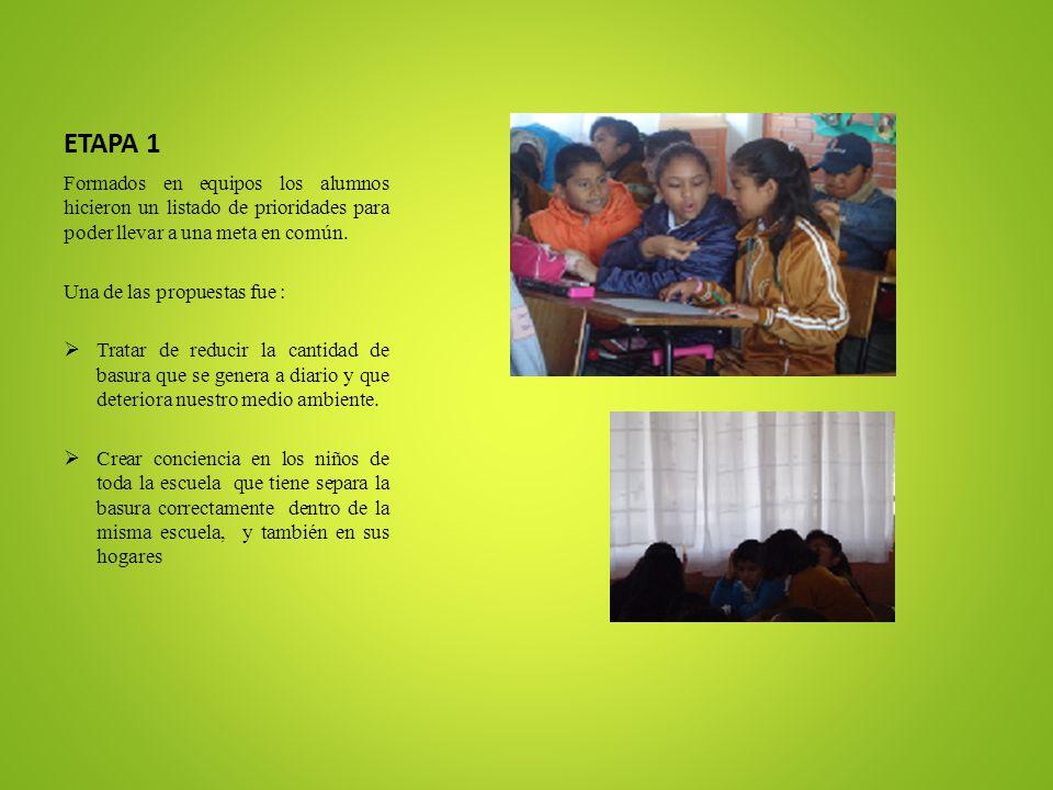 ETAPA 1 Formados en equipos los alumnos hicieron un listado de prioridades para poder llevar a una meta en común. Una de las propuestas fue : Tratar d