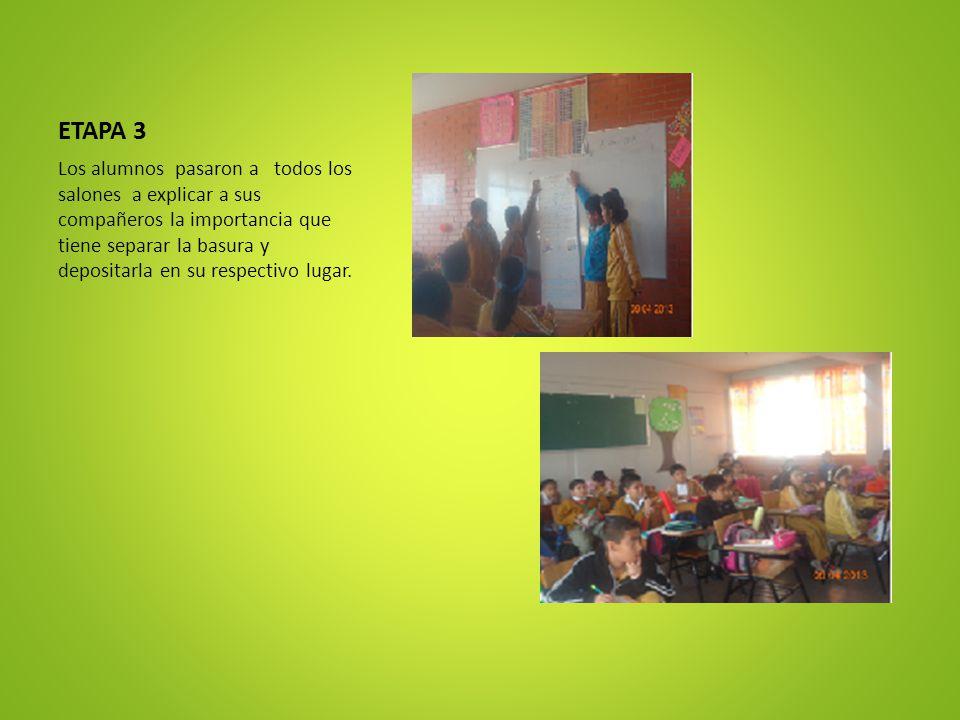 ETAPA 3 Los alumnos pasaron a todos los salones a explicar a sus compañeros la importancia que tiene separar la basura y depositarla en su respectivo