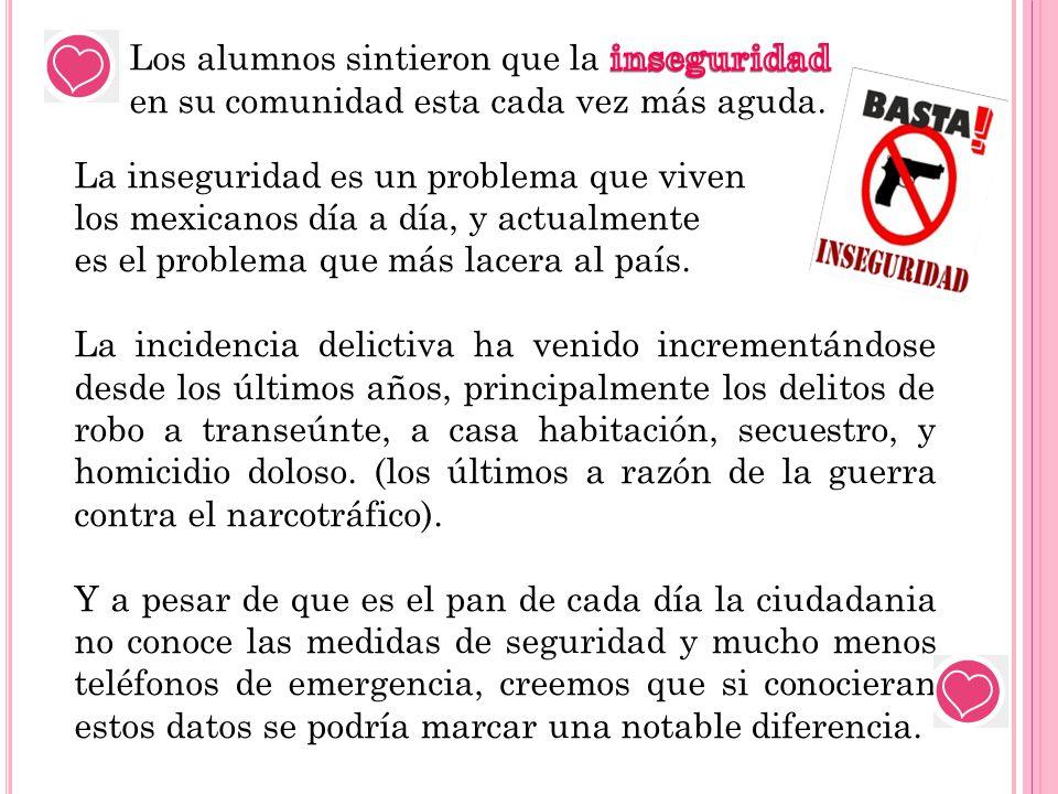 La inseguridad es un problema que viven los mexicanos día a día, y actualmente es el problema que más lacera al país. La incidencia delictiva ha venid