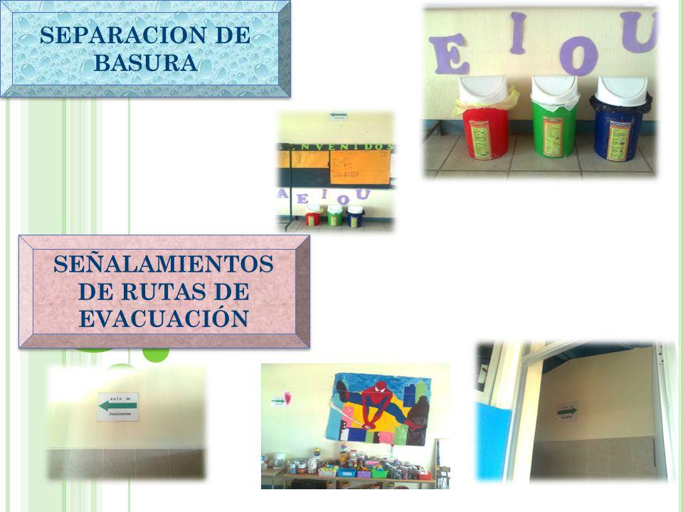 SEPARACION DE BASURA SEÑALAMIENTOS DE RUTAS DE EVACUACIÓN