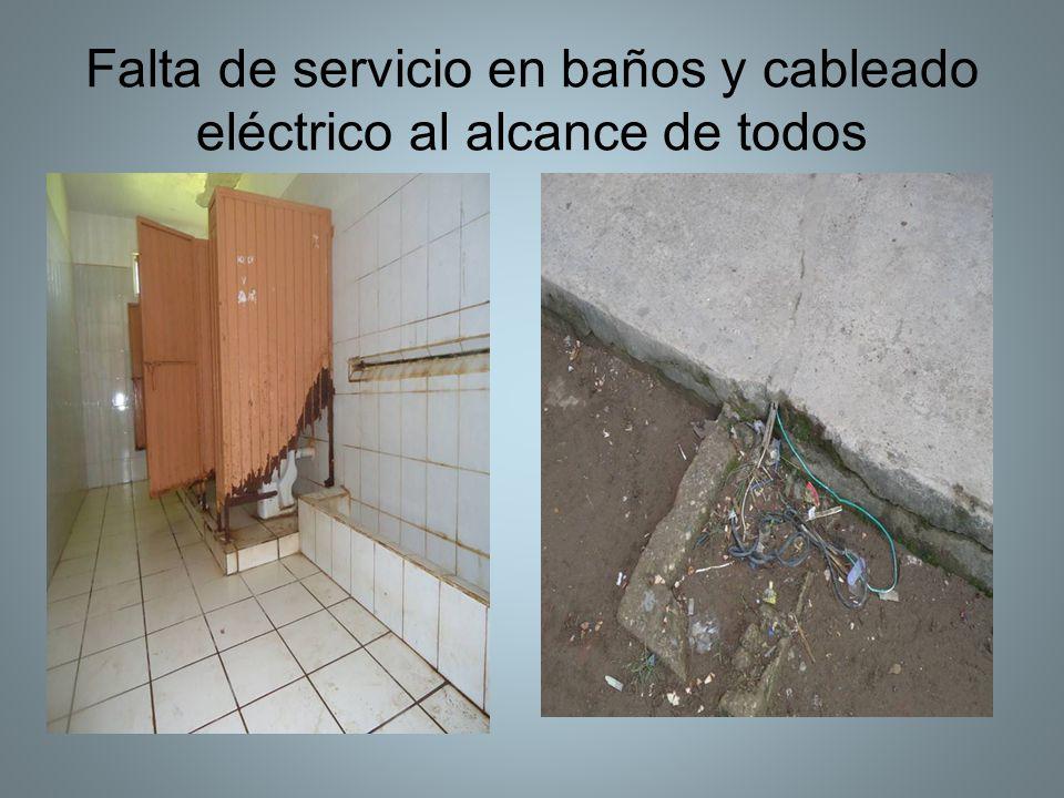 Falta de servicio en baños y cableado eléctrico al alcance de todos