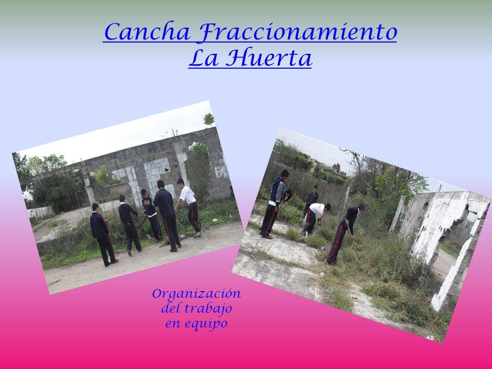Cancha Fraccionamiento La Huerta Organización del trabajo en equipo