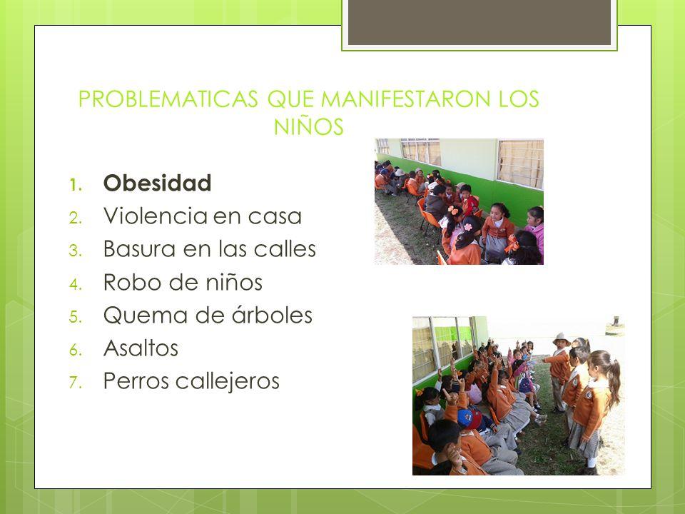 PROBLEMATICAS QUE MANIFESTARON LOS NIÑOS 1.Obesidad 2.