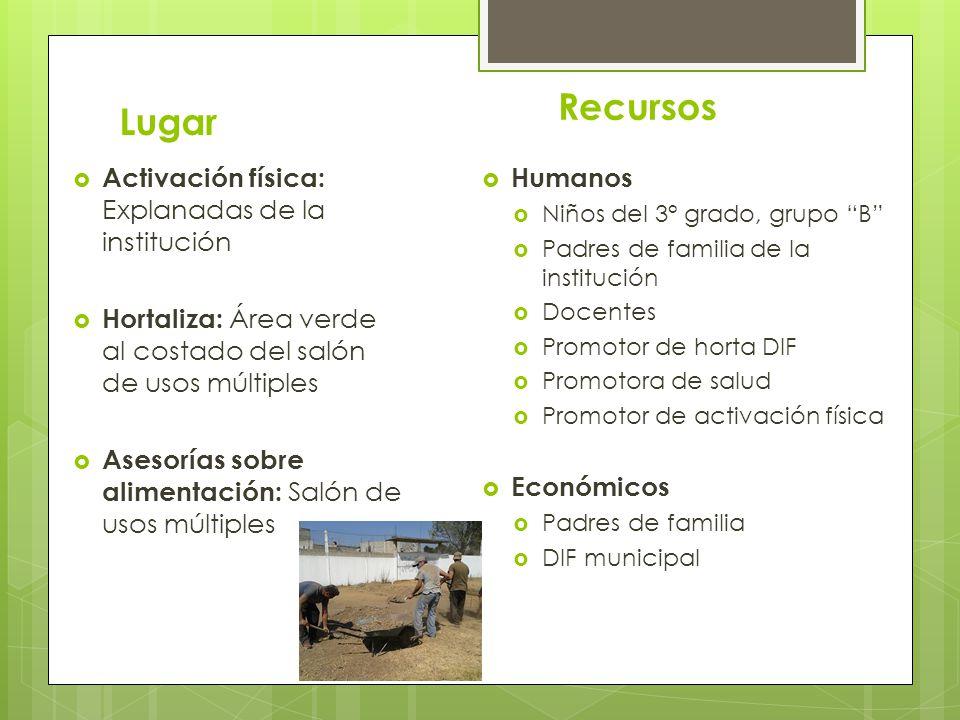 Lugar Activación física: Explanadas de la institución Hortaliza: Área verde al costado del salón de usos múltiples Asesorías sobre alimentación: Salón
