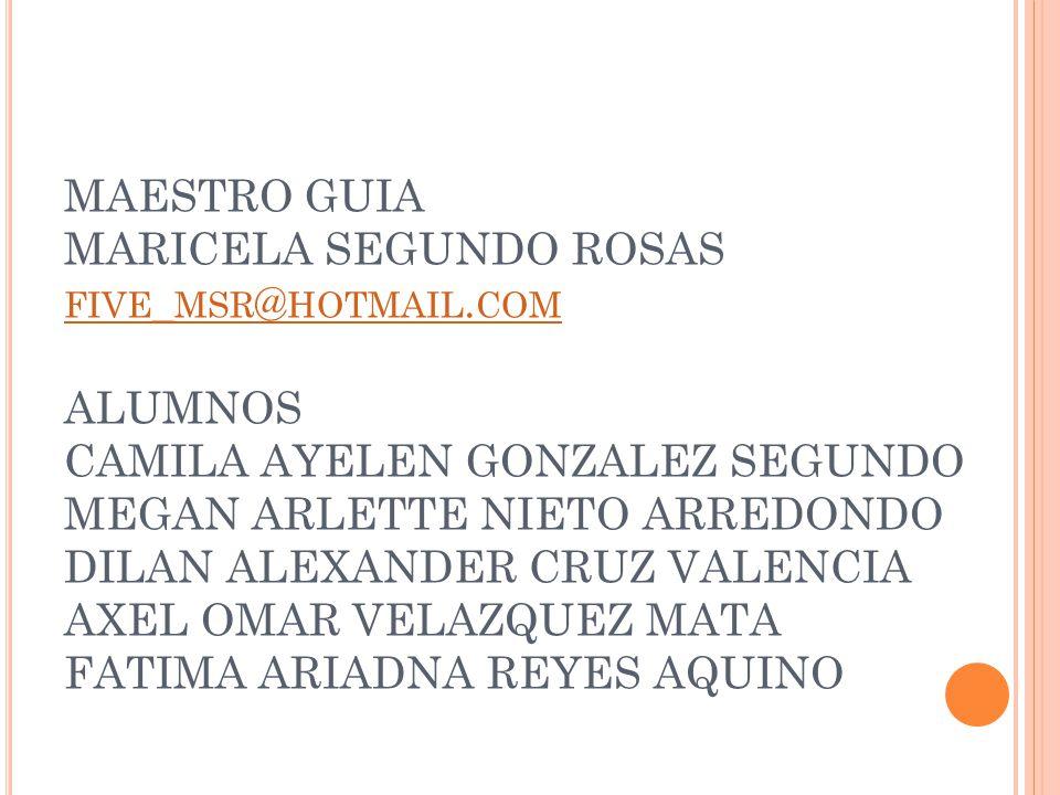 MAESTRO GUIA MARICELA SEGUNDO ROSAS FIVE _ MSR @ HOTMAIL. COM ALUMNOS CAMILA AYELEN GONZALEZ SEGUNDO MEGAN ARLETTE NIETO ARREDONDO DILAN ALEXANDER CRU