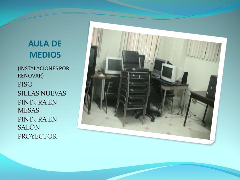 AULA DE MEDIOS (INSTALACIONES POR RENOVAR) PISO SILLAS NUEVAS PINTURA EN MESAS PINTURA EN SALÓN PROYECTOR