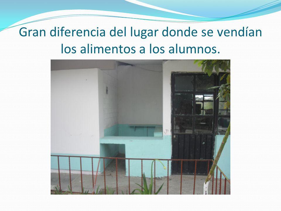 Gran diferencia del lugar donde se vendían los alimentos a los alumnos.