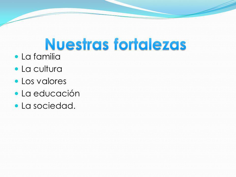 La familia La cultura Los valores La educación La sociedad.