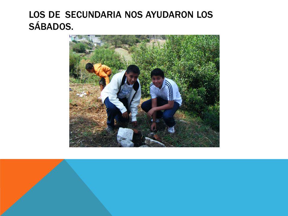 LOS DE SECUNDARIA NOS AYUDARON LOS SÁBADOS.