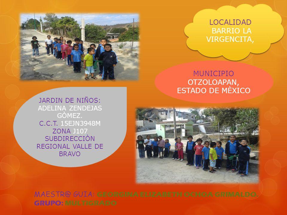 LOCALIDAD BARRIO LA VIRGENCITA, LOCALIDAD BARRIO LA VIRGENCITA, JARDIN DE NIÑOS: ADELINA ZENDEJAS GÒMEZ. C.C.T. 15EJN3948M ZONA J107 SUBDIRECCIÒN REGI
