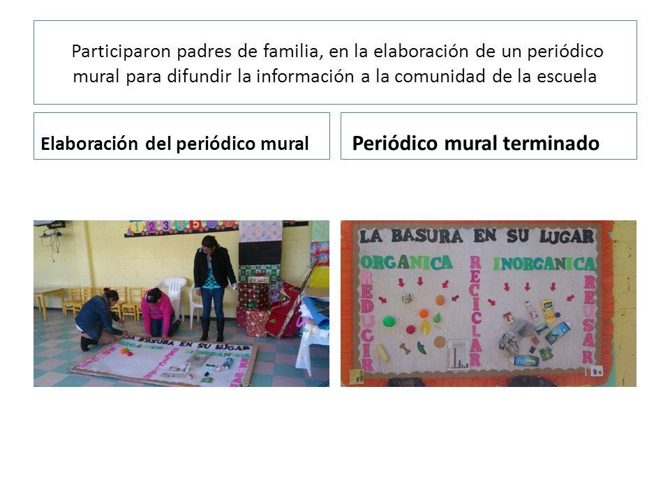 Participaron padres de familia, en la elaboración de un periódico mural para difundir la información a la comunidad de la escuela Elaboración del periódico mural Periódico mural terminado