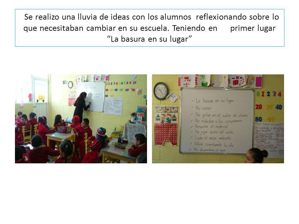 Se realizo una lluvia de ideas con los alumnos reflexionando sobre lo que necesitaban cambiar en su escuela. Teniendo en primer lugar La basura en su