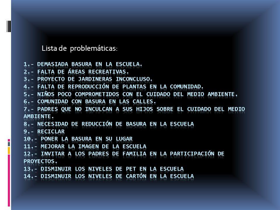 Lista de problemáticas: