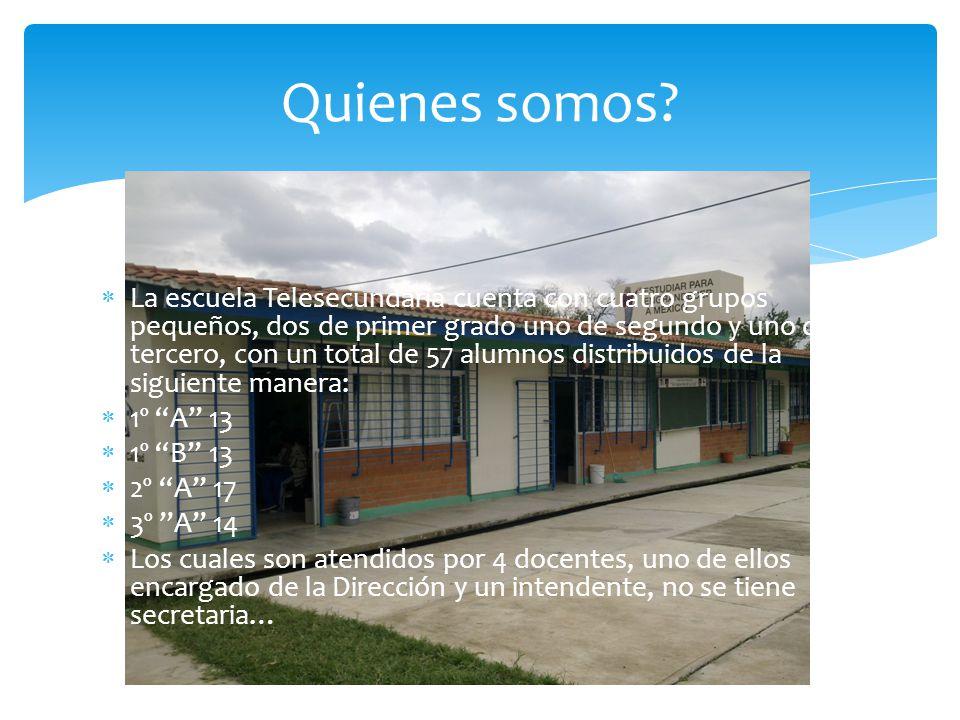 La escuela Telesecundaria cuenta con cuatro grupos pequeños, dos de primer grado uno de segundo y uno de tercero, con un total de 57 alumnos distribui