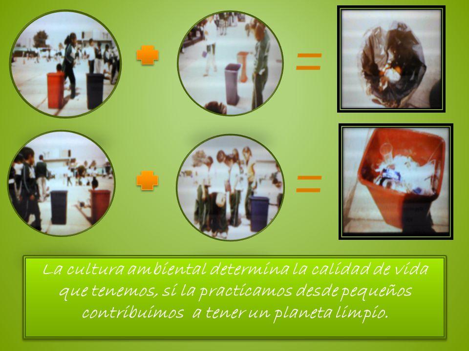 La cultura ambiental determina la calidad de vida que tenemos, si la practicamos desde pequeños contribuimos a tener un planeta limpio. La cultura amb