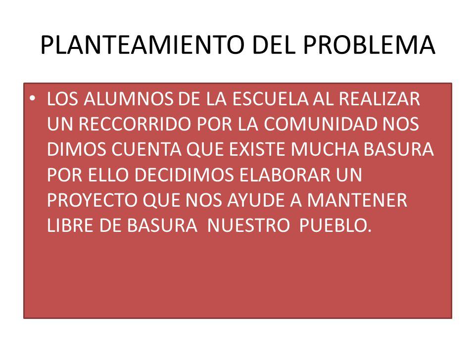 PLANTEAMIENTO DEL PROBLEMA LOS ALUMNOS DE LA ESCUELA AL REALIZAR UN RECCORRIDO POR LA COMUNIDAD NOS DIMOS CUENTA QUE EXISTE MUCHA BASURA POR ELLO DECIDIMOS ELABORAR UN PROYECTO QUE NOS AYUDE A MANTENER LIBRE DE BASURA NUESTRO PUEBLO.
