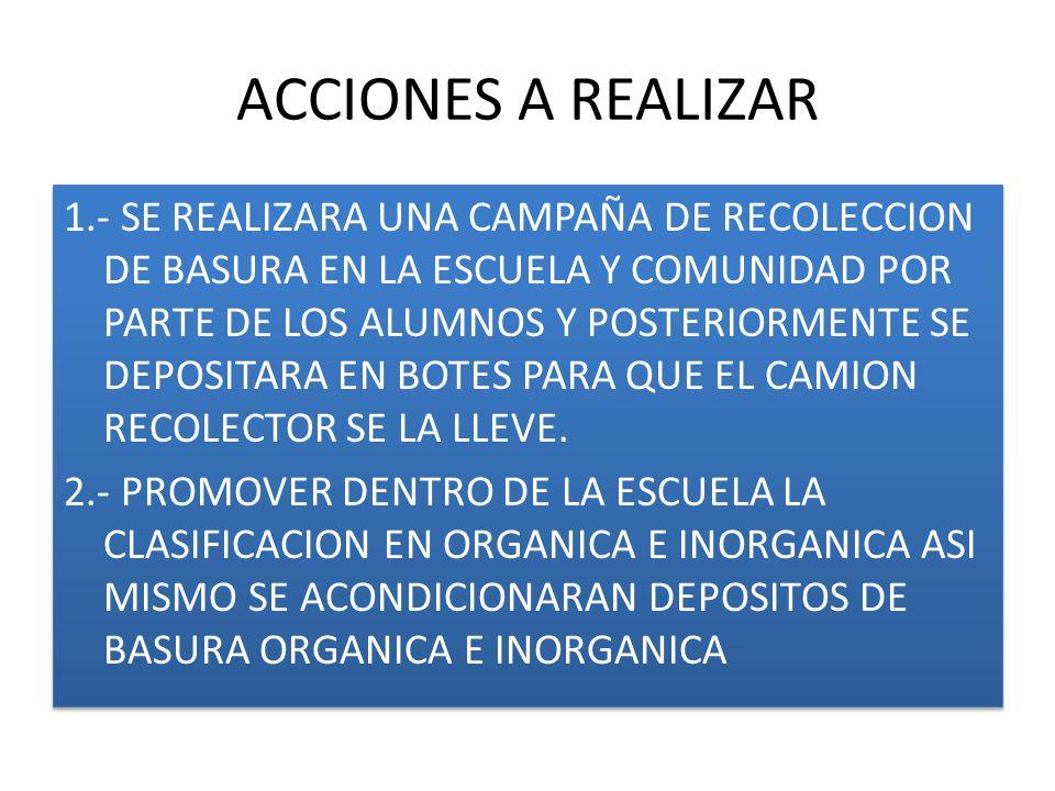 ACCIONES A REALIZAR 1.- SE REALIZARA UNA CAMPAÑA DE RECOLECCION DE BASURA EN LA ESCUELA Y COMUNIDAD POR PARTE DE LOS ALUMNOS Y POSTERIORMENTE SE DEPOS