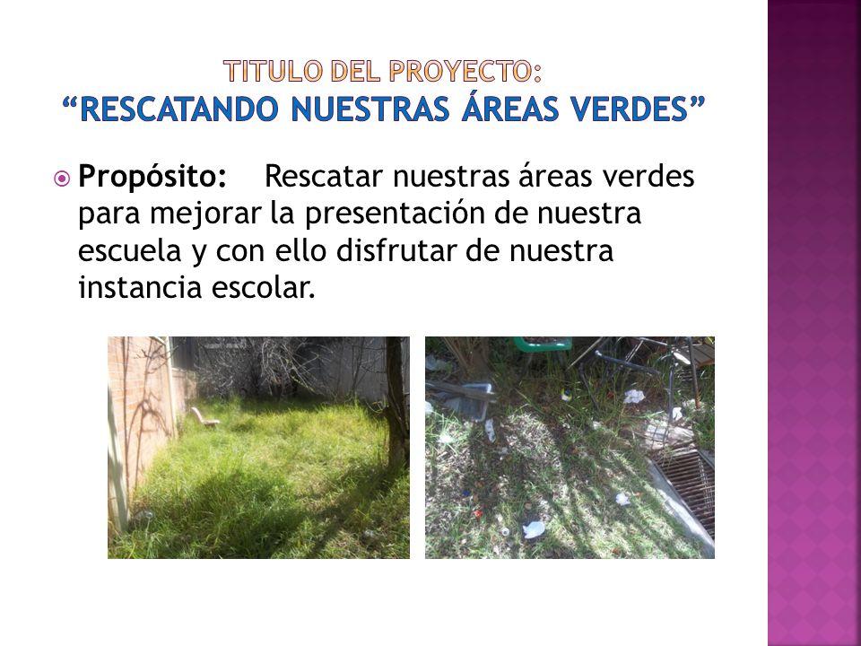 Propósito: Rescatar nuestras áreas verdes para mejorar la presentación de nuestra escuela y con ello disfrutar de nuestra instancia escolar.