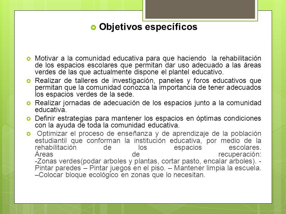 Objetivos específicos Motivar a la comunidad educativa para que haciendo la rehabilitación de los espacios escolares que permitan dar uso adecuado a l