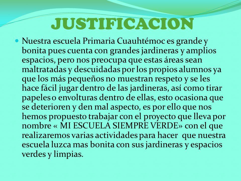 JUSTIFICACION Nuestra escuela Primaria Cuauhtémoc es grande y bonita pues cuenta con grandes jardineras y amplios espacios, pero nos preocupa que esta