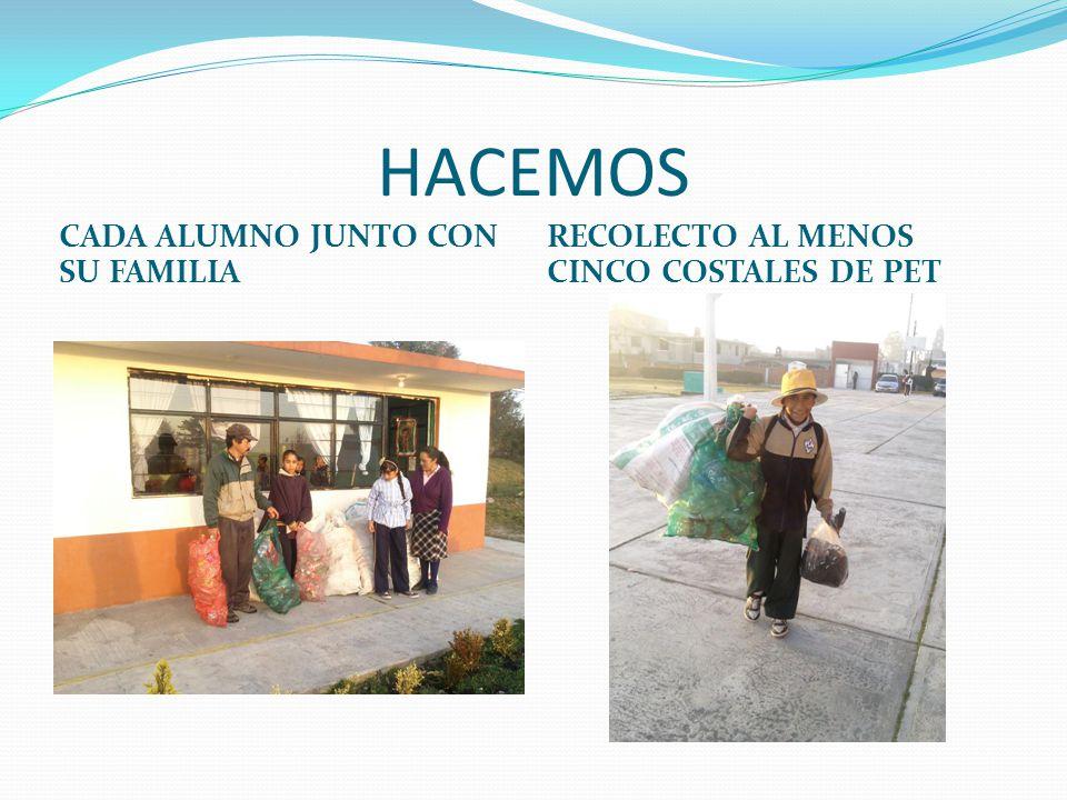 HACEMOS CADA ALUMNO JUNTO CON SU FAMILIA RECOLECTO AL MENOS CINCO COSTALES DE PET