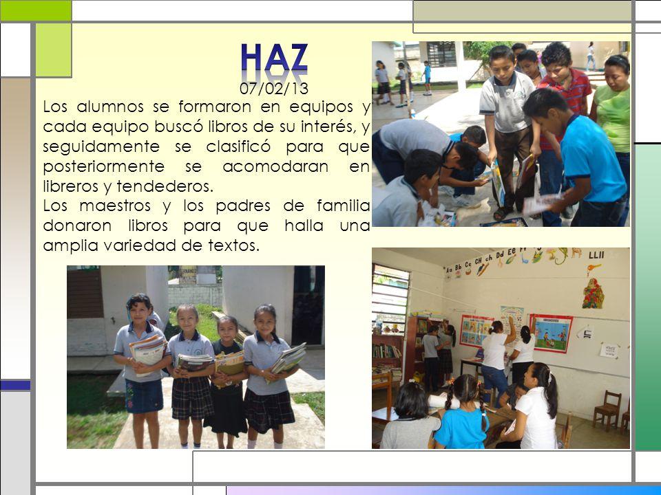 Los alumnos se formaron en equipos y cada equipo buscó libros de su interés, y seguidamente se clasificó para que posteriormente se acomodaran en libr