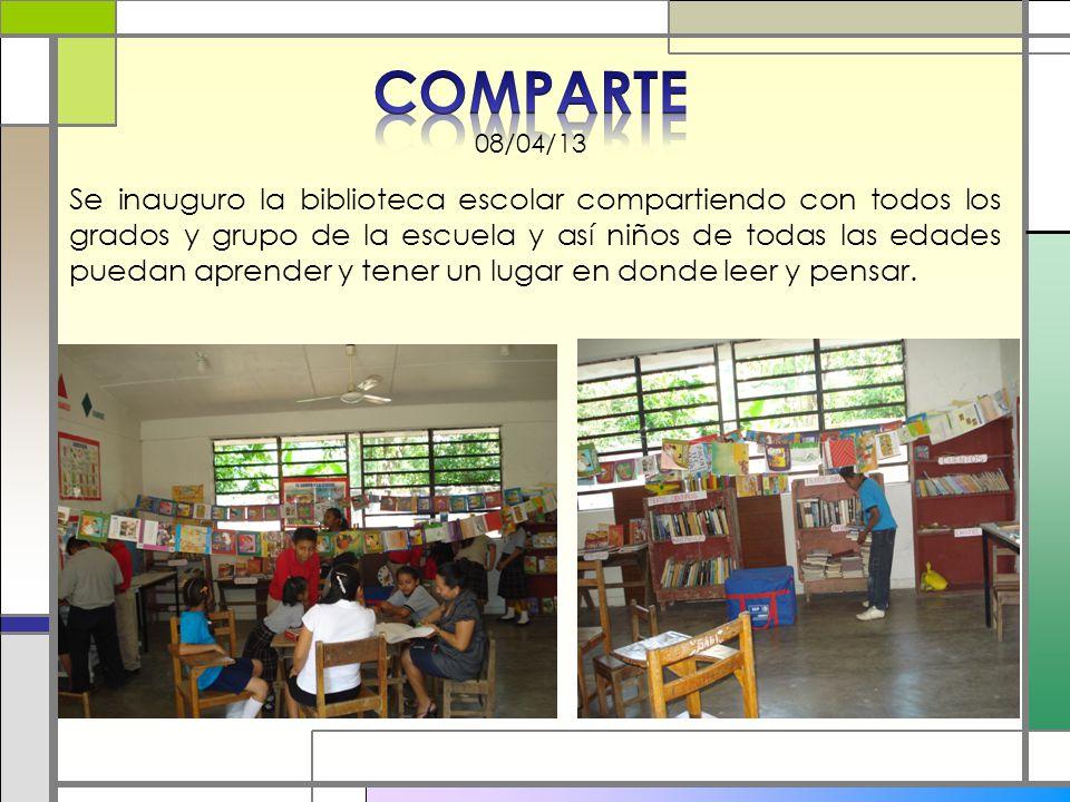 Se inauguro la biblioteca escolar compartiendo con todos los grados y grupo de la escuela y así niños de todas las edades puedan aprender y tener un l